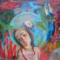 75 x75cm Oil and aerosol on canvas