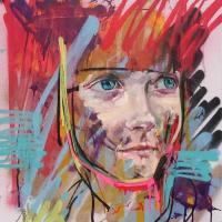 Oil and aerosol paint on canvas